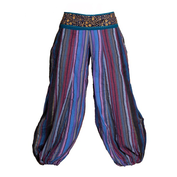 Soft muck pants with a decorated waistband